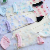 Wholesale Novelty Pairs Ladies Brand Rustic Thin Transparent Socks Woman sexy Crystal Silk Tube flower Meias Feminino Short Bas