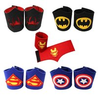 arm bracers - Children masquerade wrist Bracers of new super hero cartoon props cosplay arm bands superman batman spiderman Wrist Cuffs for Kids MC0102