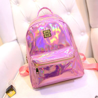 backpack for college girls - Women PU Leather Backpack Fashion Korean Hologram Laser Backpack College Leisure Backpacks For Teenage Girls Mini School Bag