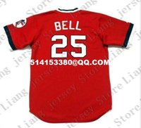 Wholesale Deluxe Edition Retro BUDDY BELL Baseball Jersey Throwback Red blue Mens XS XL Stitched Jerseys