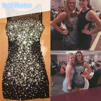beautiful art photos - Sparkly Black Short Homecoming Dresses Beautiful Crystal Beading Bling Bling Beaded Formal Party Dress Cocktail Special Occasion Gowns