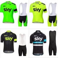 Wholesale Pro Team Sky Cycling Jersey Set New Fluo Green Yellow Sky Cycling Jerseys Bib Shorts Sets Short Sleeve Maillot Ciclismo Ropa Clothes