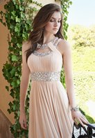 Cheap 2016 Bridesmaid Dresses Cheap Prom Dresses Double Cleo Collar Neckline Open Back Long Evening Gowns Maid of Honor Dresses with Crystals