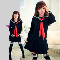 Wholesale JK Japanese School sailor uniform fashion school class navy sailor school uniforms for Cosplay girls suit Black Set