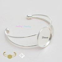 bezel bracelet blanks - 10pcs mm Bezel Pad Round Base Glass Cabochon Bracelet Settings Adjustable Bangle Cuff Bracelets Blanks For DIY Jewelry