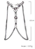 Wholesale Women Sexy Rhinstone Twist Circle Snake Chain Bikini Beach Cross Body Chain Necklace