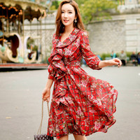Wholesale Collar Decorated Ladies - Dabuwawa Lady Sweet Long Puff Sleeve V-neck Ruffles Decorated Floral Printed Bodycon A-line Red Dress