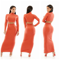 maxi skirt and dress - New Fashion Women Two piece Orange Stretchy Maxi Bodycon Club Skirt Set And Crop Top MKE YH8130