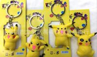 Wholesale 6pcs set Anime Poke mon Pikachu Mini Keychain PVC Action Figure Collectable Model Toy for kids