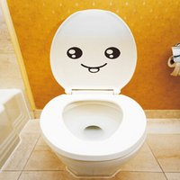Wholesale Smiley face toilet wall sticker decal mural art decor funny car bathroom gift lovely wall sticker hot sale