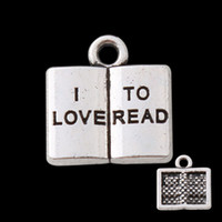 Wholesale Alloy I Love To Read Stamped Book Shaped Vintage Message Charms For Teacher s Day AAC1025