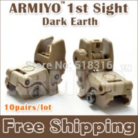 Wholesale Armiyo st Generation Folding Back up Sight Front and Rear Tactical Hunting Shooting Scope Black Dark Earth pair