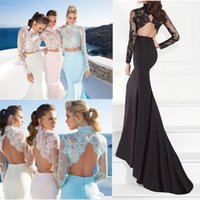 Wholesale Long Sleeves Pieces Lace Mermaid Evening Dresses Sheer Illusion High Neck Backless Party Dress White Pink Blue Prom Gowns JB886