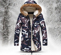 Wholesale Fall New Camouflage Parkas Men Thicken Long Mens Winter Coats Casual With Velvet Cotton Padded Clothes Jacket Plus Size XL Parka Men