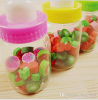 Wholesale hot sale material escolar papelaria cute stationery fruit shaped pencil rubber eraser for kids bottle
