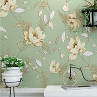 american contacts - home decor American non woven wall paper vintage Pastoral floral wallpaper roll background papel de parede d contact paper