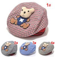Wholesale fashion cute baby caps bear beret ball cap boys girls infant cotton hat spring autumn