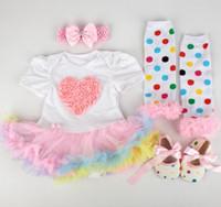 Bébé garçons filles Noël combinaisons bébé nouvel an robe coton coton robes Boutique vêtements enfants porter pompon jupe 4pcs GLS006B
