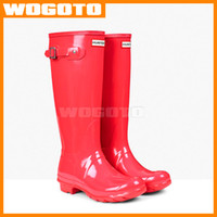 wellies - Top Quality Hunter Boots Women Wellies Rainboots Ms Glossy Hunter Wellington Rain Boots Wellington Knee Boots DHL Fast Delivery WOGOTO