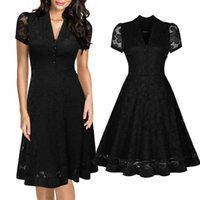 Wholesale Stitching v neck dress with short sleeves Lace full skirted dress Women dress