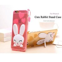 apple bunnies - 3D Lovely Rabbit Bunny Ears Transparent Soft TPU Gel Cover Case For iPhone SE S S Plus inch With Cord Strap Free Ship