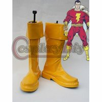 adult superhero shoes - Back Zipper Captain Marvel Cosplay Boots Adult Superhero Yellow Shoes Flash Cospaly Boots D0425
