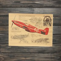 air fighter planes - Retro Vintage Fighter Air Plane NORTH AMERICAN P51 B PLANE XXL Vintage Wall Poster decals cm Vinyl Paper Poster