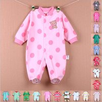 baby fleece patterns - Baby Clothes Baby Rompers Spring Autumn Long Sleeves Fleece Dot Strip Animal Pattern Baby Boys and Girls Clothing Jumpsuits for Newborn