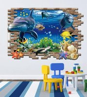 Wholesale Finding Nemo D wall stickers Ocean Underwater World for kids rooms Art for Baby Nursery Room christmas gift Decoration Cartoon Poster