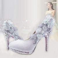 adult ballet shoes - Diamond wedding bride summer white high heeled shoes with purple bridesmaid shoes round head thin with adult time female shoes