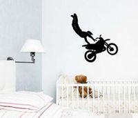 art tricks - 2016 Home Decor Vinyl Wall Decal Art Sticker Motorcycle Racer Tricks Boys Room Wall Stickers