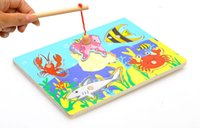 Wholesale New Cute Creative Wooden Magnetic Fishing Game Jigsaw Puzzle Board Children Toy