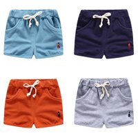 baby boy boat - 2016 Summer boys shorts cotton knitted comfort sailing boat embroidery mini shorts for baby boy Homewear elastic wasit multi colors