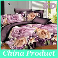 Textiles para el hogar en 3D de cama Ropa de cama de poliéster Flores 4 PC hoja del lecho de la cama + Conjuntos funda nórdica + funda de almohada