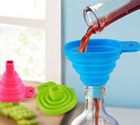Wholesale Mini Collapsible Silicone Funnel Folding Liquid Measuring Filter Kitchen Tools Non stick Food Grade Mold For Oil Wine Milk Water