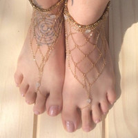 ballet wedge sandal - Barefoot Sandals For Wedding Shoes Sandel Anklet Chain Cheap Stretch White Toe Ring Beading Wedding Bridal Bridesmaid Jewelry Foot