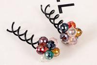 Wholesale Disk hair headdress hair jewelry crystal beaded spiral color clip ball head plate hair plugs are Bob beaded clip