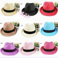 Wholesale Mixed colors Panama Straw Hats Fedora Soft Vogue Summer Sun Beach Trilby Gangster Linen Jazz Hat Unisex Men Women Stingy Brim Caps