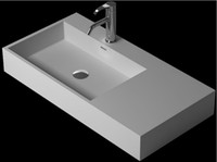 artificial wall stone - Rectangular Bathroom Solid Surface Stone Vessel Sink Cloakroom Artificial Stone Laundry Matt Or Glossy Wash Basin RS38346