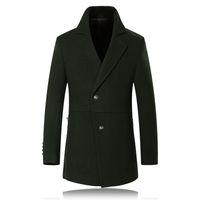 achat en gros de trench-coat en laine verte-Automne 2016 hiver 50% armée de laine verte trench-coat pour hommes TRENCH hommes Manteaux Manteau Casual Veste coupe-vent pour hommes