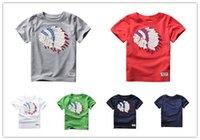 al por mayor muchachos rojos altos tops-La nueva manera 2017 de la alta calidad embroma a las muchachas de los bebés de las muchachas de los bebés cortocircuito las camisetas rojas grises de las camisetas del verano del algodón de las camisetas 100% y el bebé de las tapas embroma la ropa CS06