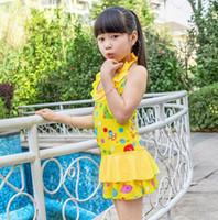 al por mayor 12 años traje de baño-Summer de la nueva impresión de la historieta del traje de baño del cabrito del arco iris Vestidos hermosa princesa de las muchachas del traje de baño de 8-12 años de edad