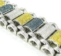 10k gold bracelet - Mens k White Gold Canary Blue Round Pave Diamond Bracelet
