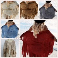 Wholesale Women Fringed shawl Faux Suede Leather S XL Tippet Summer Long Fringes Tassels Pashmina colors sizes OOA138