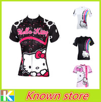 bicycle kitty - 2016 New Women Black Hello Kitty Cycling Jersey Cycling Shirt Ride Tops Cute Girl Cycle Gear Bicycle Clothes Women