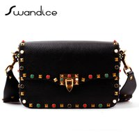 baguette roll - Rockstud Rolling Studs Cabochon Stones Cross Body Bags Small Flap Rainbow Messenger Shoulder Bags Real Cow Genuine Leather Women