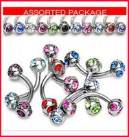 Eyebrow Jewelry assorted nose rings - fashion new Assorted color eyebrow rings crystal rhinestone bending bar round ball lip ring navel ring nose ring eyebrow piercing jewelry