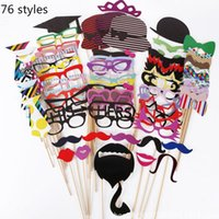 beard stick - Funny Beard Glasses Tie Hats Photo Props Wedding Party Props Christmas Birthday Decoration Mask Photo Props With Stick Styles LJJP189