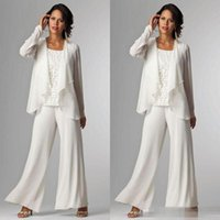 Wholesale Summer Long Pants For Woman - Elegant White Chiffon Mother Of Bride Pant Suit For Wedding Long Sleeves Plus Size Formal Women Evening Occasion Gown Custom Made Cheap 2016