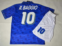 Wholesale Top Velvet nameset Retro jersey WC italy BAGGIO bule shirt with shorts